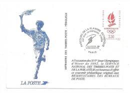 Cp, Timbre (Représentation), Parcours De La Flamme Olympique - XVIè Jeux Olympiques D'Hiver - 1991 -  La Poste - Timbres (représentations)