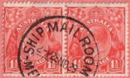 "AUS SC #68 PR 1927 King George V  w/SON (""SHIP MAIL ROOM / 28 NO 29""), R stamp - sm adh on back"