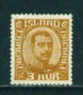 ICELAND - 1920 Christian X 3a Mounted Mint - 1918-1944 Unabhängige Verwaltung