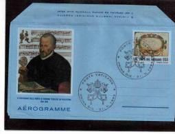 "TEM7998-   VATICANO  -  AEROGRAMMA   ""  IV CENTENARIO MORTE PIERLUIGI DA PALESTRINA"" - FDC 31.5.1994 - CAT.  FIL. A.32 - Interi Postali"