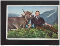 Sennerbueb Von Selden Im Gasterntal - Homme Avec Vache -1951 - Suisse - Edit Gyger # A 3884 - BE Berne