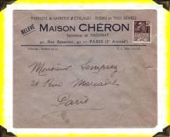 1931 - 30c Expo-coloniale Sur Lettre De La Maison Chéron  -  Paris III°  -   75 Seine