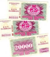 Bosnia & Herzegovina 20000 DINARA 1 BANKNOTE - Bosnia And Herzegovina