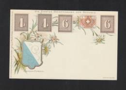 AK Die Ersten Briefmarken Der Schweiz - Timbres (représentations)