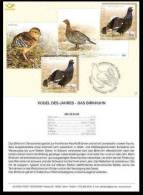 Bird Of The Year - Black Grouse 2008 Estonia Stamp Presentation Card (in Germany) Mi 614 - Oiseaux
