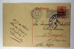Germany: 1915 Ganzsache Mi P2, Bruxelles To Slagharen Holland, Dutch Army, Sensor Aachen