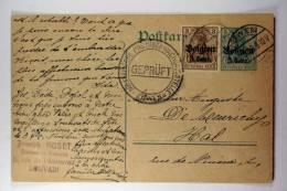 Germany: 1916 Ganzsache Mi P6, Mit Zusatzfrankatur Mi 11, Löwen (Leuven)
