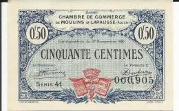 BILLET CHAMBRE DU COMMERCE  DE MOULINS ET LAPALLISSE ALLIER  0.50 CTS TTRES BON ETAT  * * *   COMME NEUF - Chambre De Commerce