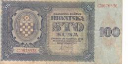 Croatie Billet 100 Kuna N°2 Année 1941 VF - Croatia