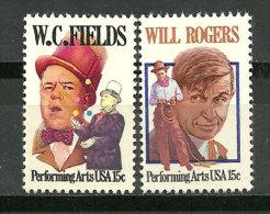 ETATS-UNIS. Acteurs Americains W.C Fields & Will Rogers. 2 T-p Neufs ** - Acteurs