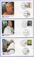 Sonderpoststempel Papst Johannes Paul II In Deutschland Köln Bonn Mainz Osnabrück Fulda Altötting München 1980  (878) - Päpste