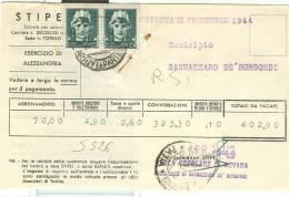 STORIA POSTALE, IMPERIALE Cent. 15X2, 246,cent.30 IN TARIFFA SU   FATTURA STIPEL  1944 X  SANNAZZARO  MUNICIPIO - Storia Postale