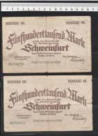 Schweinfurt Stadt, 4 X 500T Mark - Lot 4 Scheine Bayern - Germania