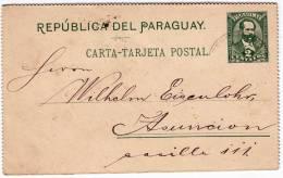 1898 Paraguay, Papelería De 2 Centavos En Mapa Sello Paraguay 29ABR98 Asuncion Comenzado En 1898 - Paraguay