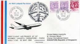 "Env. ""Premier Vol  Nouméa - Paris En Airbus A-340"" Oblit. Nouméa - Magenta 30-3-1994 - Avions"