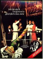 Reklame Werbeanzeige  -  Sekt Henkell Trocken  ,  Mit Henkell Begonnen - Glücklich Das Jahr  ,  Von 1974 - Alkohol
