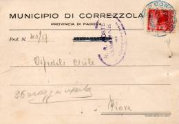 1947 LETTERA CON ANNULLO CORREZZOLA  PADOVA - 6. 1946-.. Republic