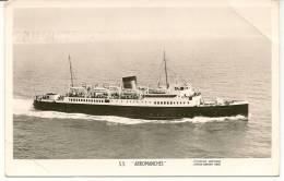 Carte Postale PHOTO Du BATEAU S.S. ARROMANCHES Avec Signatures De L'équipage Et Cachet Du Bateau. - Photos