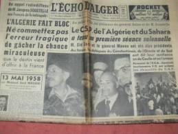 """ ECHO D ALGER ""  24 MAI  1958  COUP D ETAT  SALAN MASSU JOUHAUD CONSTANTINE SIDI BEL ABBES MOSTAGANEM - Zeitungen"