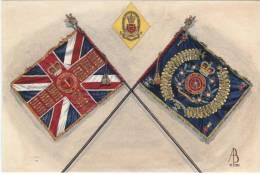Alix Baker Postcard - AB24/5 Queens Colour, Regimental Colour & Soldier's Cap Badge, 1st Battalion, Queens Lancashir - Uniforms