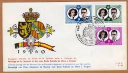 Enveloppe Brief Cover FDC Mariage Royal Belgique Le Roi  Et Dona Fabiola De Mora Y Aragon - Buste