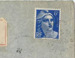 France Marianne Gandon Impression Défectueuse Etiquettes Oran Au Dos - Curiosities: 1945-49 Covers & Documents