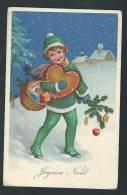 Enfant Dans La Neige, Avec Cadeaux Pour Noël. - Weihnachten
