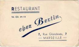 "Restaurant ""chez Bertin"" 7, Rue Glandevès - Marseille  (53232) - Cartes De Visite"
