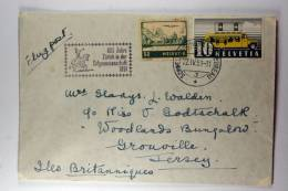Switserland: Airmail Cover 380 Autopostkt, Schweizautomobil 3, 600 Jahre Zürich In Der Eidgenossenschaft 1951, To Jersey