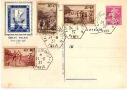 Entier Postal EP - SEC I17b - 20c Lilas - Oblitéré Expo Philatélique Internationale Paris PEXIP 1937 - Standaardpostkaarten En TSC (Voor 1995)
