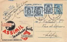 """Belgien 1945, 50c Ganzsache + 3 X 60c Zusatzfrankierung Auf Werbe Postkarte """"ASSIMIL"""" - Belgien"""