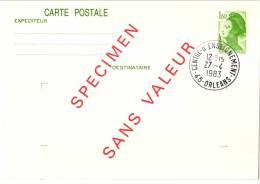 Entier Postal EP - LIB B2 - Liberté 1,60f Vert - Surchargé Spécimen Sans Valeur - Cours D´instruction - Oblitéré - Standaardpostkaarten En TSC (Voor 1995)