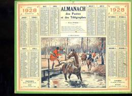 Calendrier 1928, Le Cheval Peureux, Chasse à Courre. - Calendars
