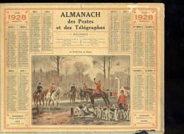 Calendrier 1928, Au Rendez Vous De Chasse, Chasse à Courre. - Calendars