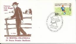 MF421 - MARCOFILIA -LA LETTERATURA NELLA FILATELIA- GIOVANNI CENA- 10.5.1981-CISTERNA DI LATINA - TEMATICA LETTERATURA - 1971-80: Marcophilia