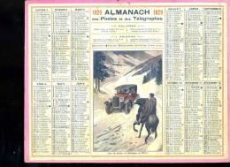 Calendrier 1929, Sur Les Routes De Montagne En Hiver, Automobile, Cavalier. - Calendars