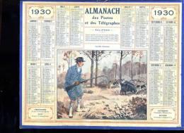 Calendrier 1930, Terrible Chasseur, Sanglier - Calendars