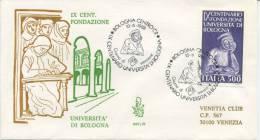 ITALIA - FDC  VENETIA  1988 - UNIVERSITA´ DI BOLOGNA - VIAGGIATA PER VENEZIA - ANNULLO SPECIALE BOLOGNA - 1946-.. République