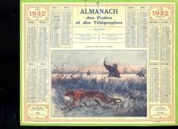 Calendrier 1932, Chasse Au Tigre - Calendars