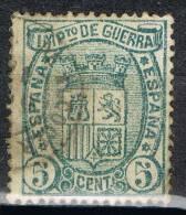 Sello 5 Cts Impuesto De Guerra 1875, Fechador PUEBLA De ALCOCER (Badajoz),  Num 154 º - Impuestos De Guerra