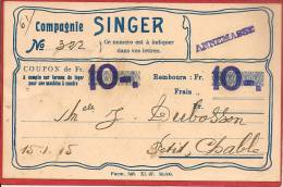 13 / 3 / 92  - COMPAGNIE  SINGER - COUPON - Pubblicitari