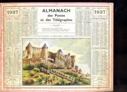 Calendrier 1937 Aude, Carcassonne La Cité, Le Château Comtal - Big : 1921-40