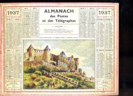 Calendrier 1937 Aude, Carcassonne La Cité, Le Château Comtal - Calendars