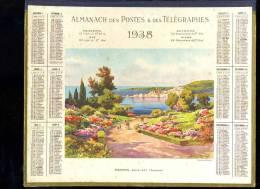 Calendrier 1938 Double Cartonnage, Alpes Maritimes,  Menton Baie Est (garavan) - Calendars