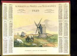 Calendrier 1939 Double Cartonnage, Finistère, Ouessant, Moulin De Loqueltas - Big : 1921-40