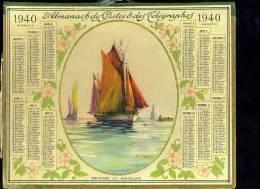 Calendrier 1940 Double Cartonnage, Bateau De Pêche. Thonier Au Mouillage - Big : 1921-40