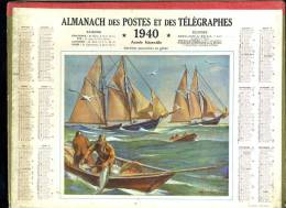 Calendrier 1940 Double Cartonnage, Bateau Morutier, Goélettes Morutières En Pêche. - Big : 1921-40