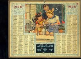 Calendrier 1950 , Jeux Enfants, Bulles De Savon, Enfants Et Chat. - Grand Format : 1941-60