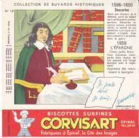 Buvard Biscottes Corvisart,collection Historique N° 18, Descartes - Biscotti