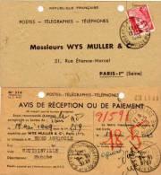 Avis De Réception Ou De Paiement - Exp. : Wys Muller & Cie Paris A Coutainville     (53260) - Other